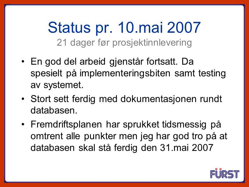 Status pr. 10.mai 2007 21 dager før prosjektinnlevering