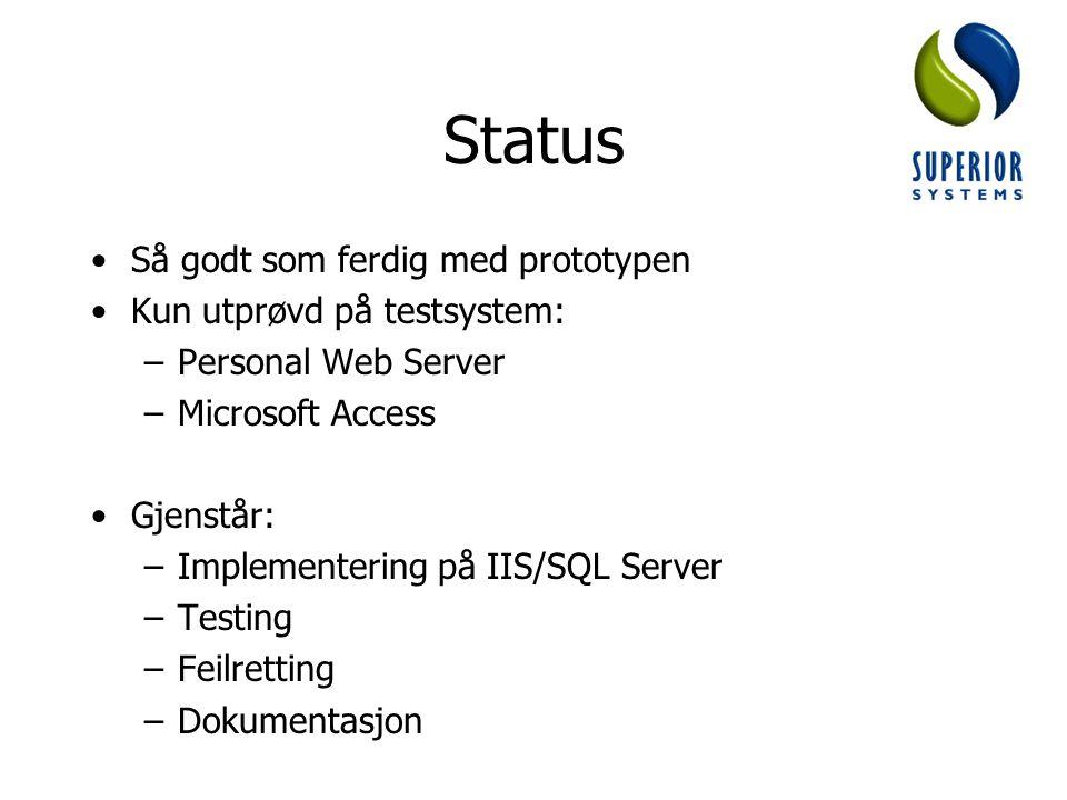 Status Så godt som ferdig med prototypen Kun utprøvd på testsystem: