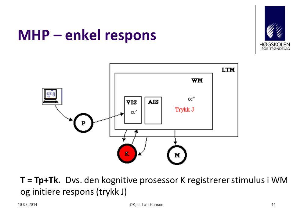 MHP – enkel respons T = Tp+Tk. Dvs. den kognitive prosessor K registrerer stimulus i WM og initiere respons (trykk J)