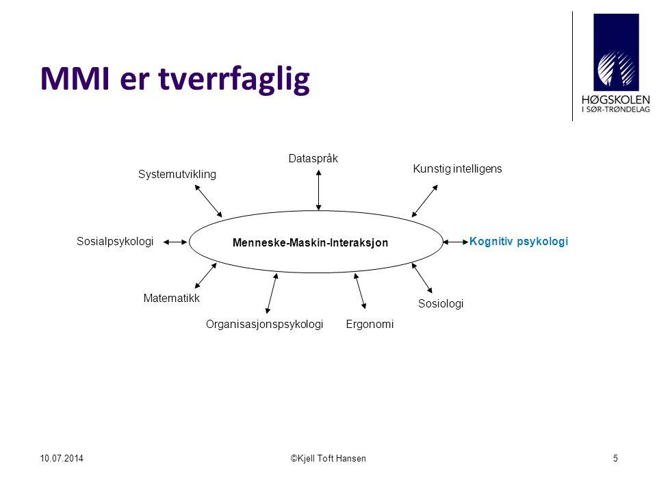 MMI er tverrfaglig Dataspråk Kunstig intelligens Systemutvikling