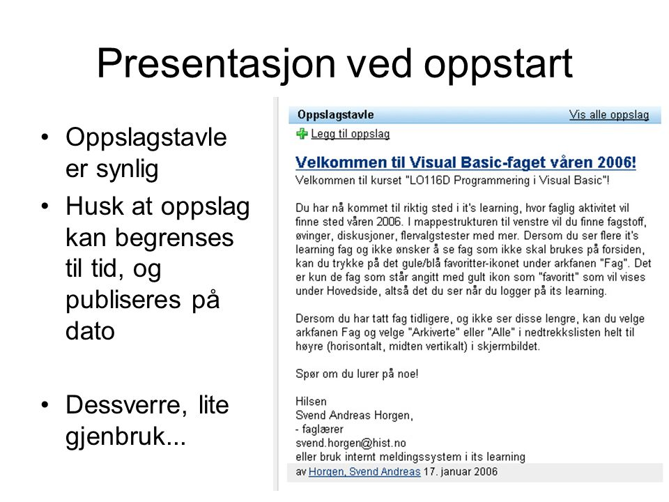 Presentasjon ved oppstart