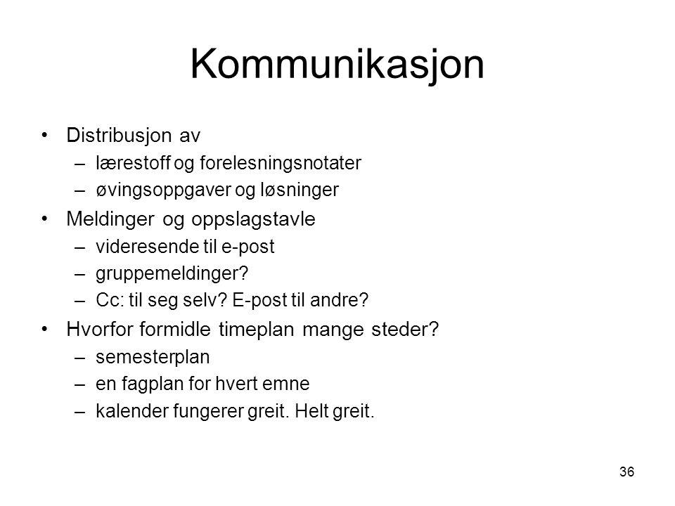 Kommunikasjon Distribusjon av Meldinger og oppslagstavle