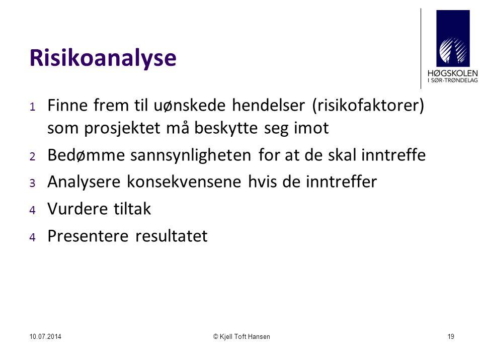 Risikoanalyse Finne frem til uønskede hendelser (risikofaktorer) som prosjektet må beskytte seg imot.
