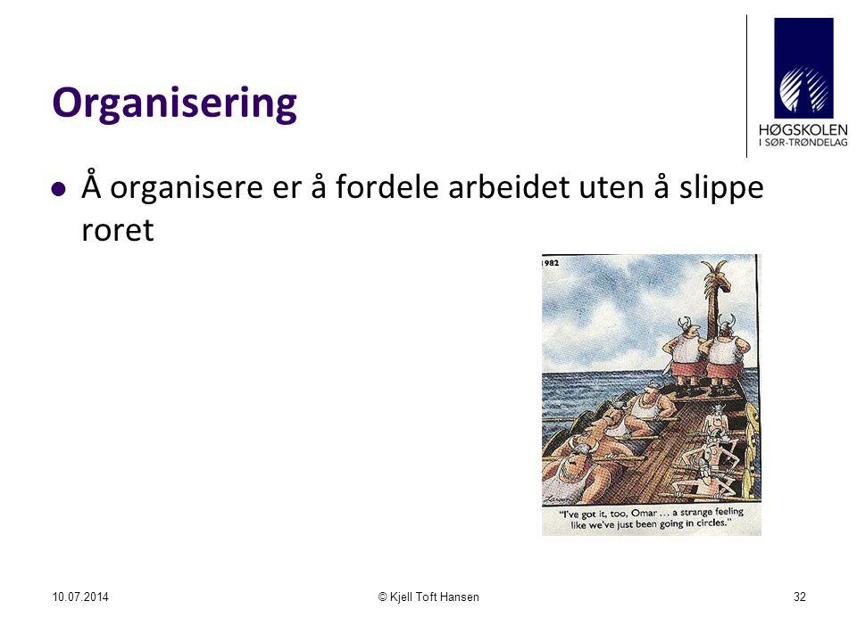 Organisering Å organisere er å fordele arbeidet uten å slippe roret