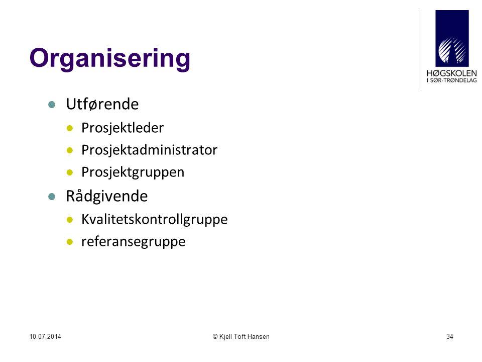 Organisering Utførende Rådgivende Prosjektleder Prosjektadministrator