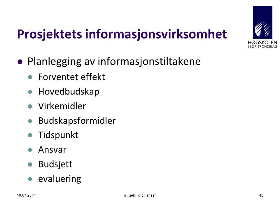 Prosjektets informasjonsvirksomhet
