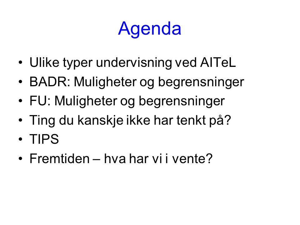 Agenda Ulike typer undervisning ved AITeL