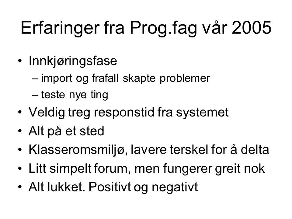 Erfaringer fra Prog.fag vår 2005