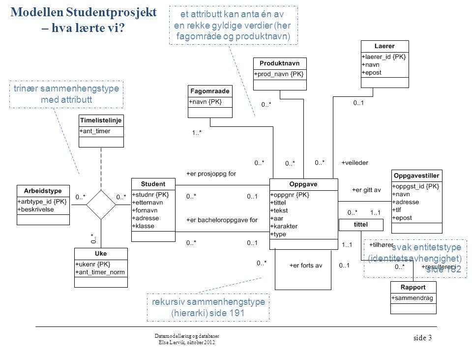 Modellen Studentprosjekt – hva lærte vi