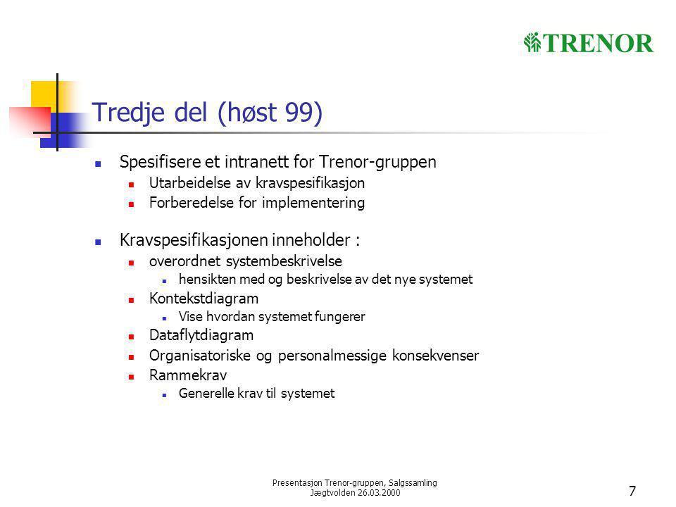 Presentasjon Trenor-gruppen, Salgssamling Jægtvolden 26.03.2000