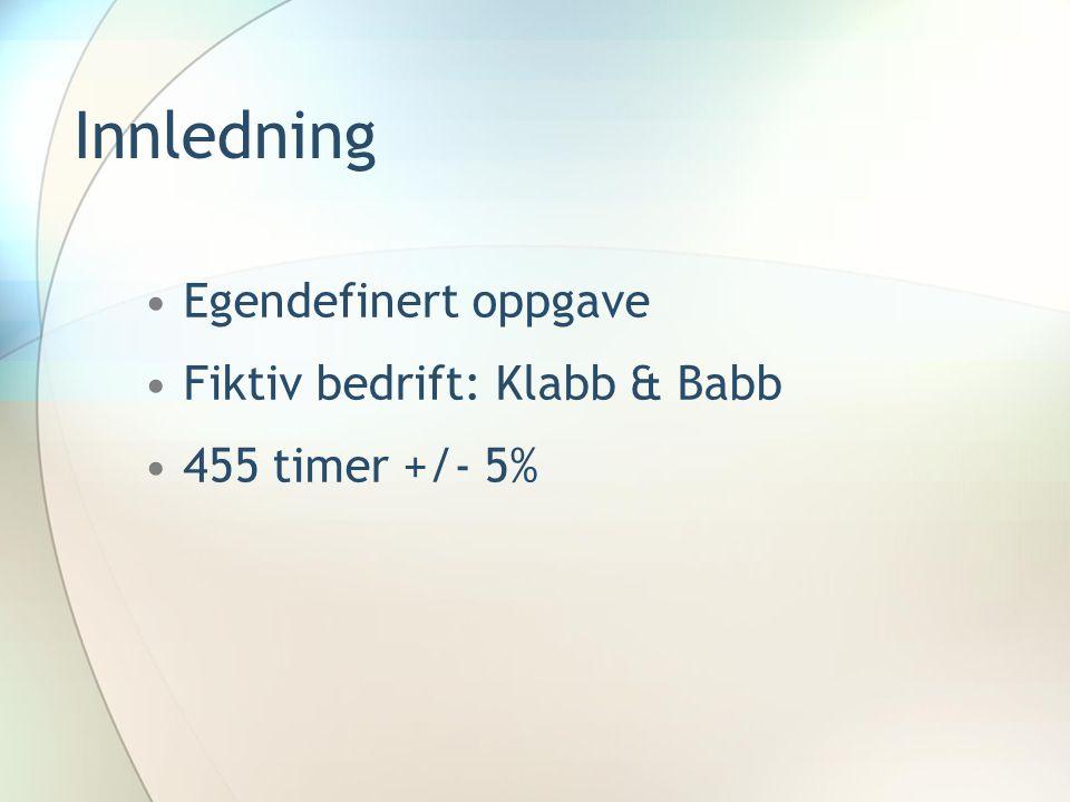 Innledning Egendefinert oppgave Fiktiv bedrift: Klabb & Babb