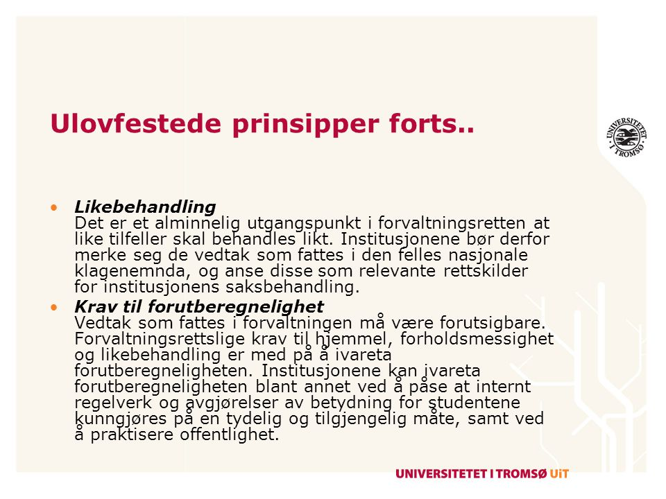 Ulovfestede prinsipper forts..