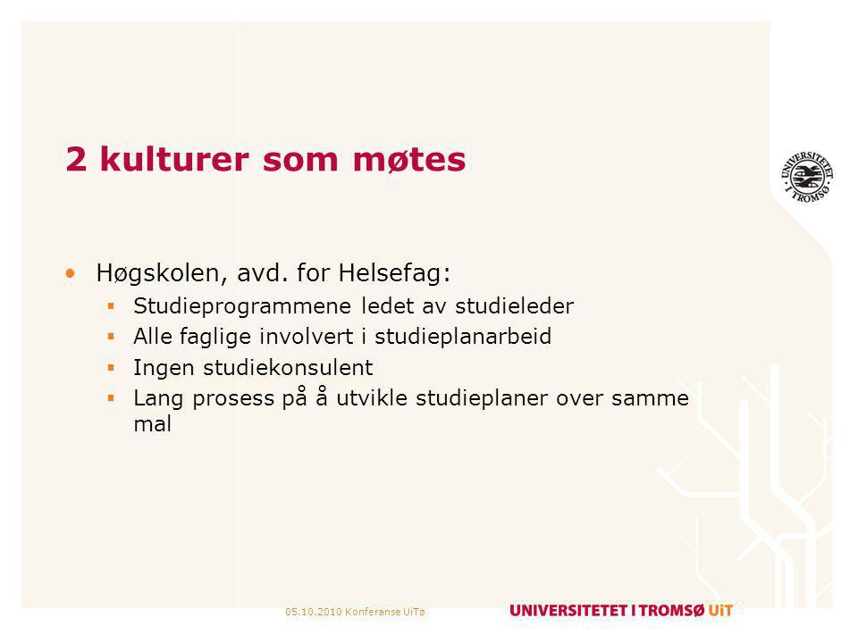2 kulturer som møtes Høgskolen, avd. for Helsefag: