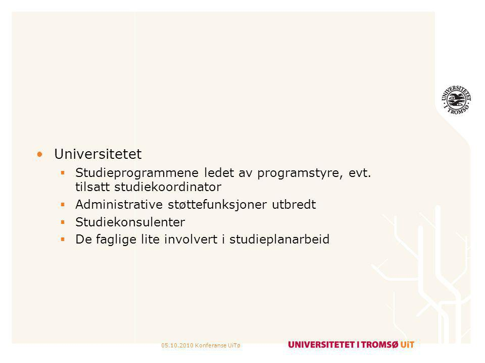 Universitetet Studieprogrammene ledet av programstyre, evt. tilsatt studiekoordinator. Administrative støttefunksjoner utbredt.