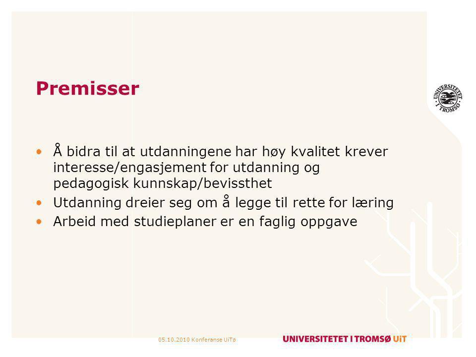 Premisser Å bidra til at utdanningene har høy kvalitet krever interesse/engasjement for utdanning og pedagogisk kunnskap/bevissthet.