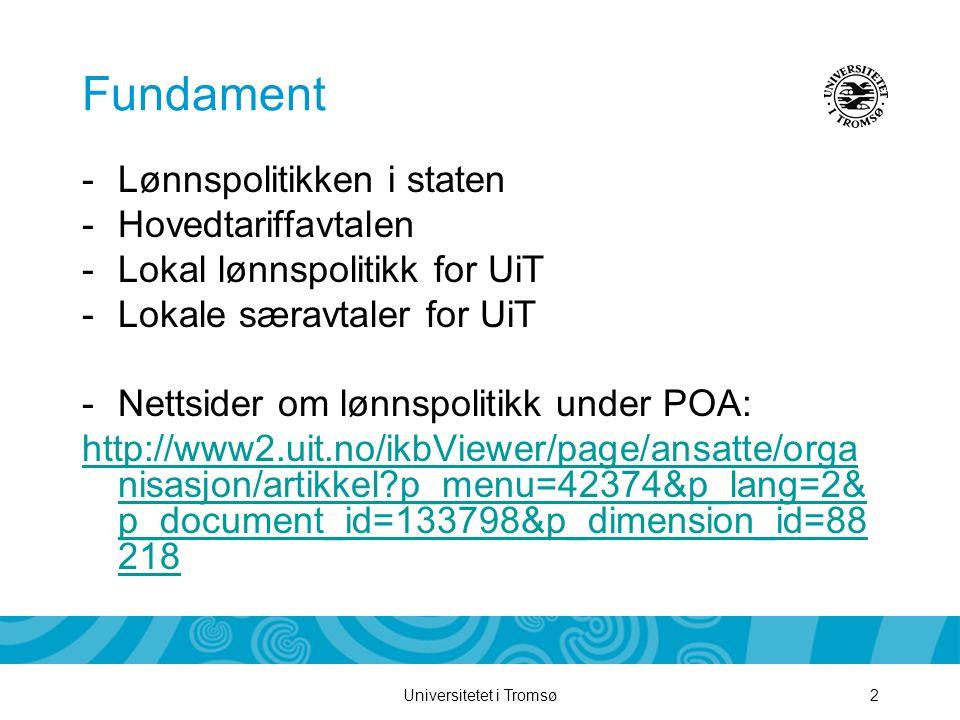 Fundament Lønnspolitikken i staten Hovedtariffavtalen