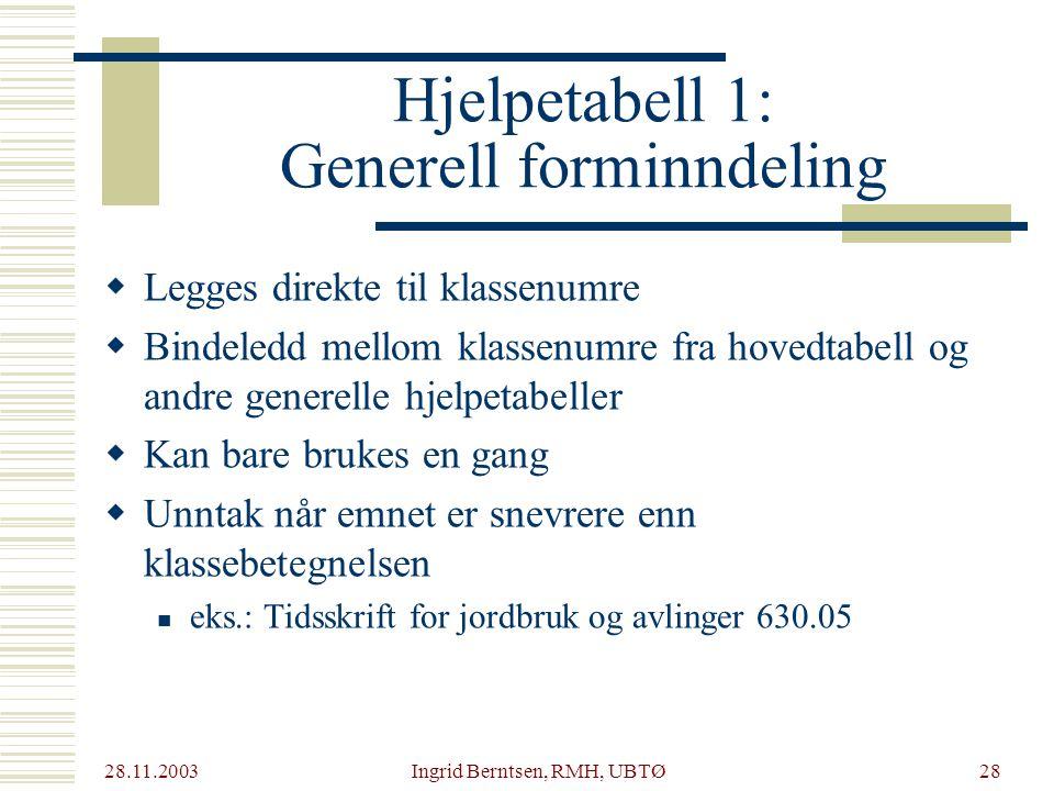 Hjelpetabell 1: Generell forminndeling