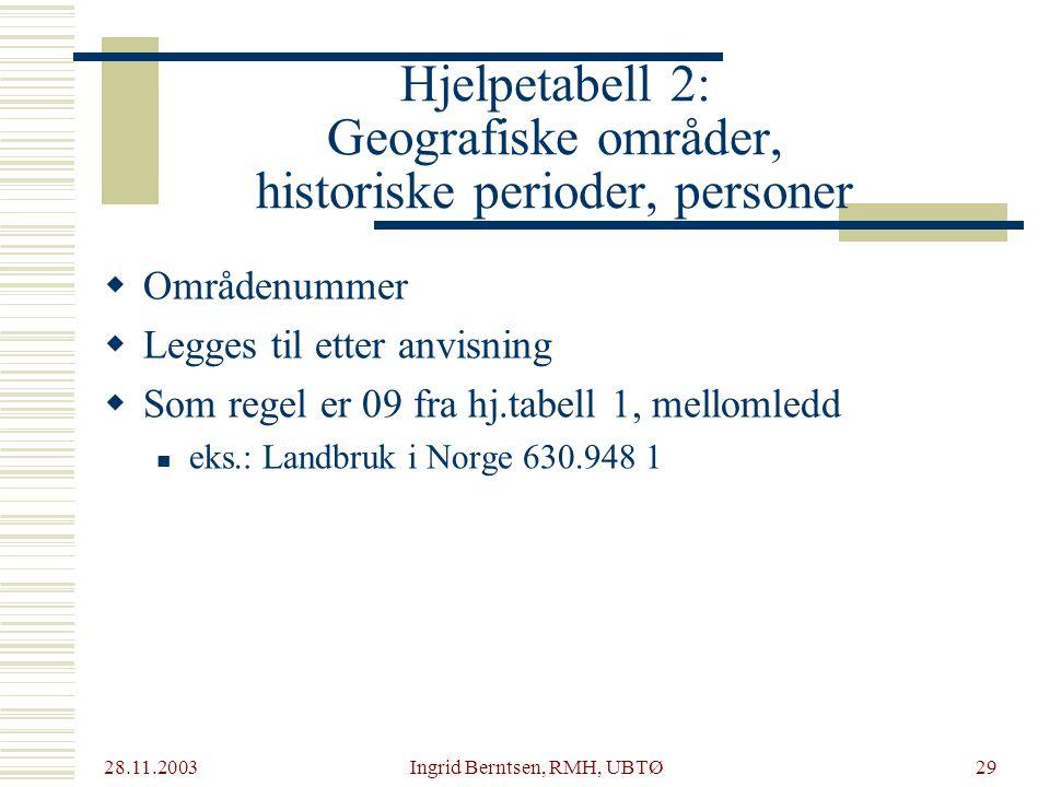 Hjelpetabell 2: Geografiske områder, historiske perioder, personer