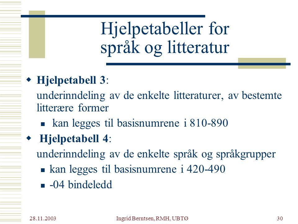 Hjelpetabeller for språk og litteratur