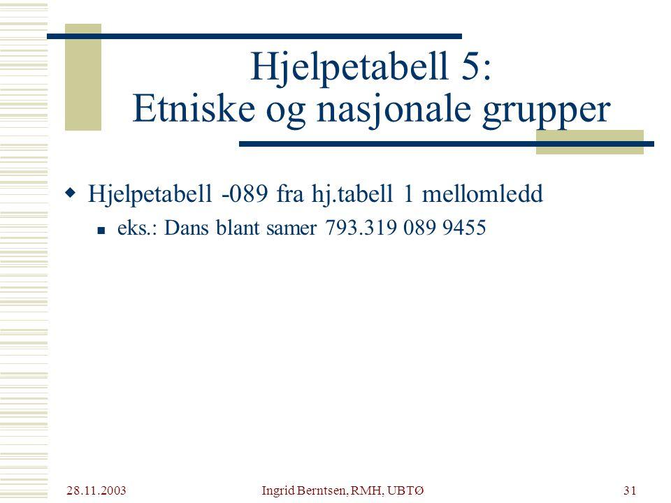 Hjelpetabell 5: Etniske og nasjonale grupper