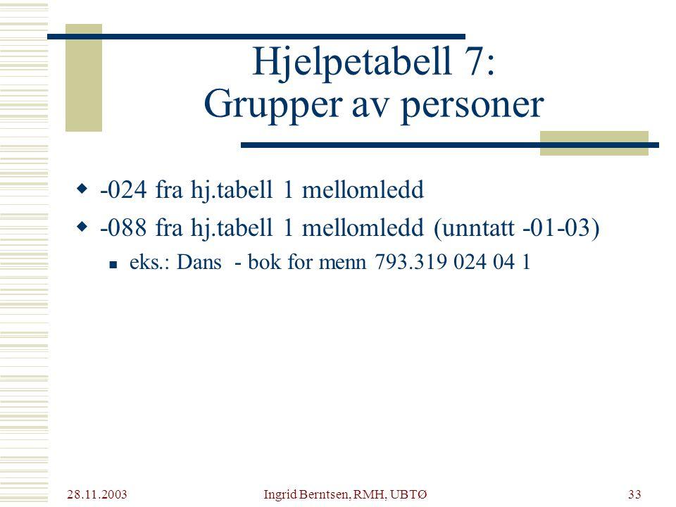 Hjelpetabell 7: Grupper av personer