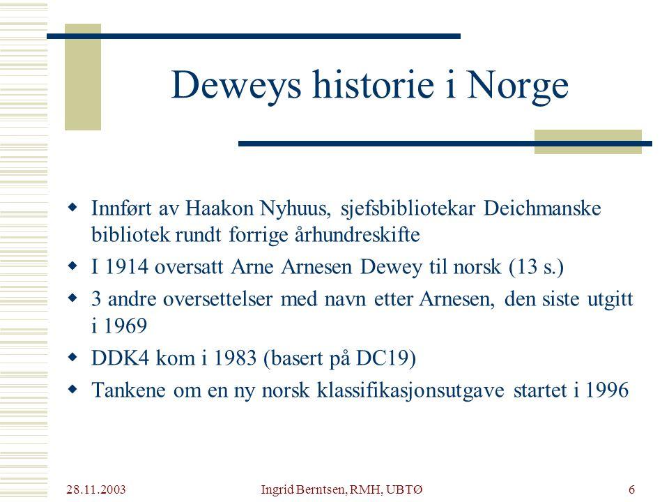 Deweys historie i Norge