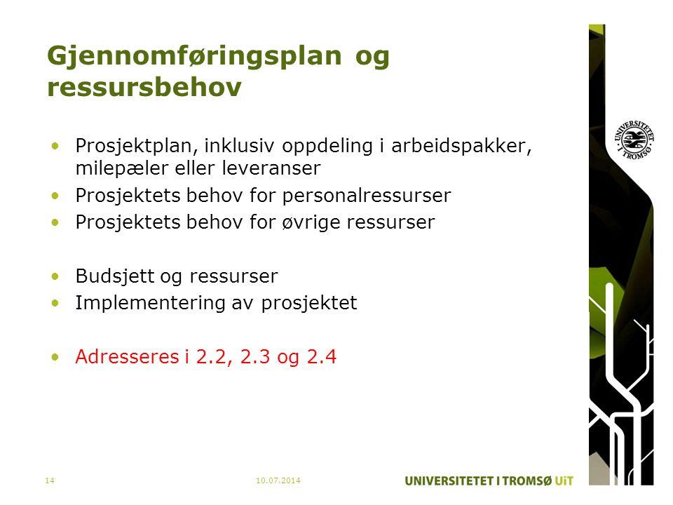 Gjennomføringsplan og ressursbehov