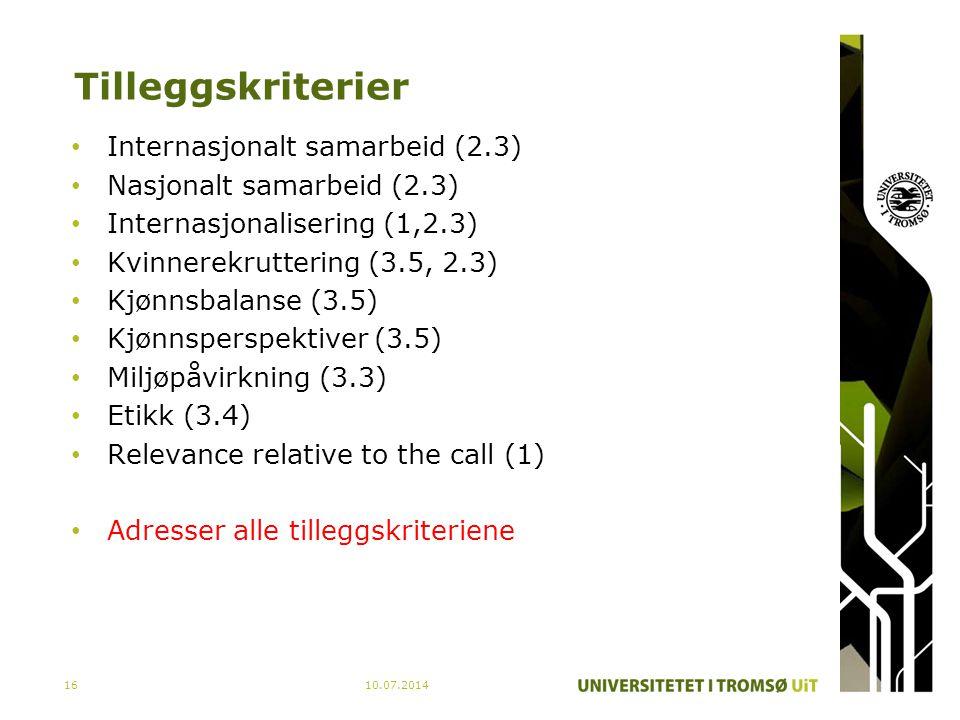 Tilleggskriterier Internasjonalt samarbeid (2.3)