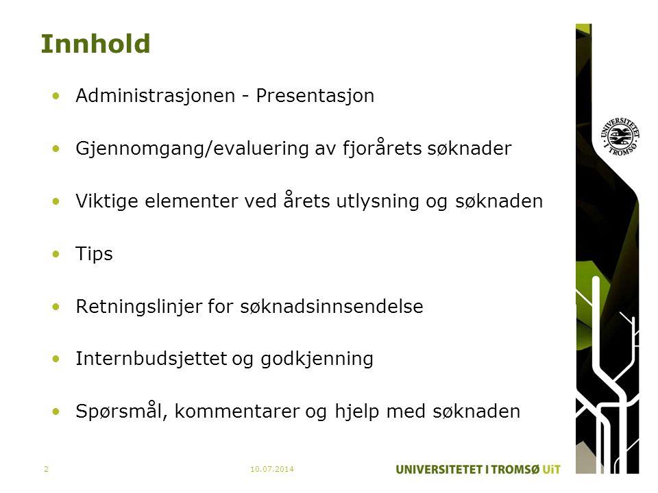Innhold Administrasjonen - Presentasjon