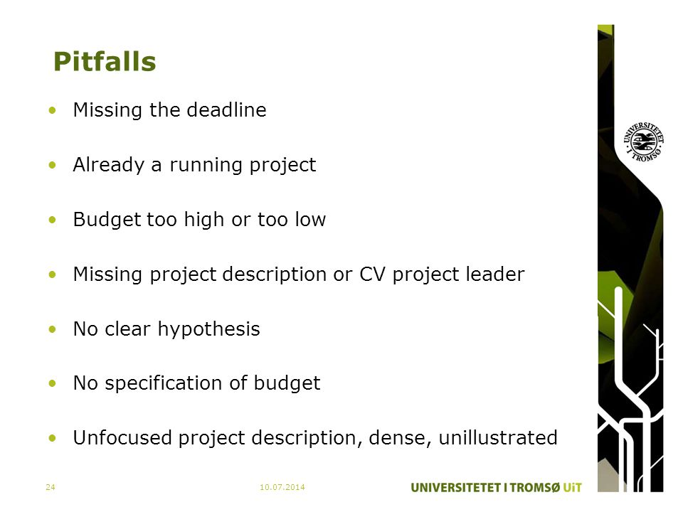 Pitfalls Missing the deadline Already a running project