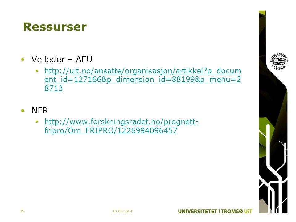 Ressurser Veileder – AFU NFR
