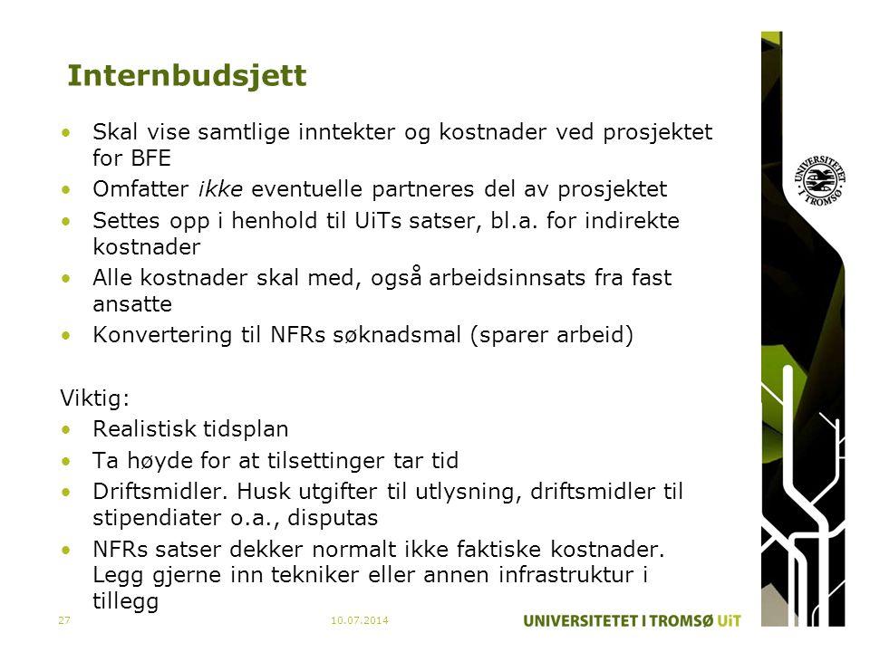 Internbudsjett Skal vise samtlige inntekter og kostnader ved prosjektet for BFE. Omfatter ikke eventuelle partneres del av prosjektet.