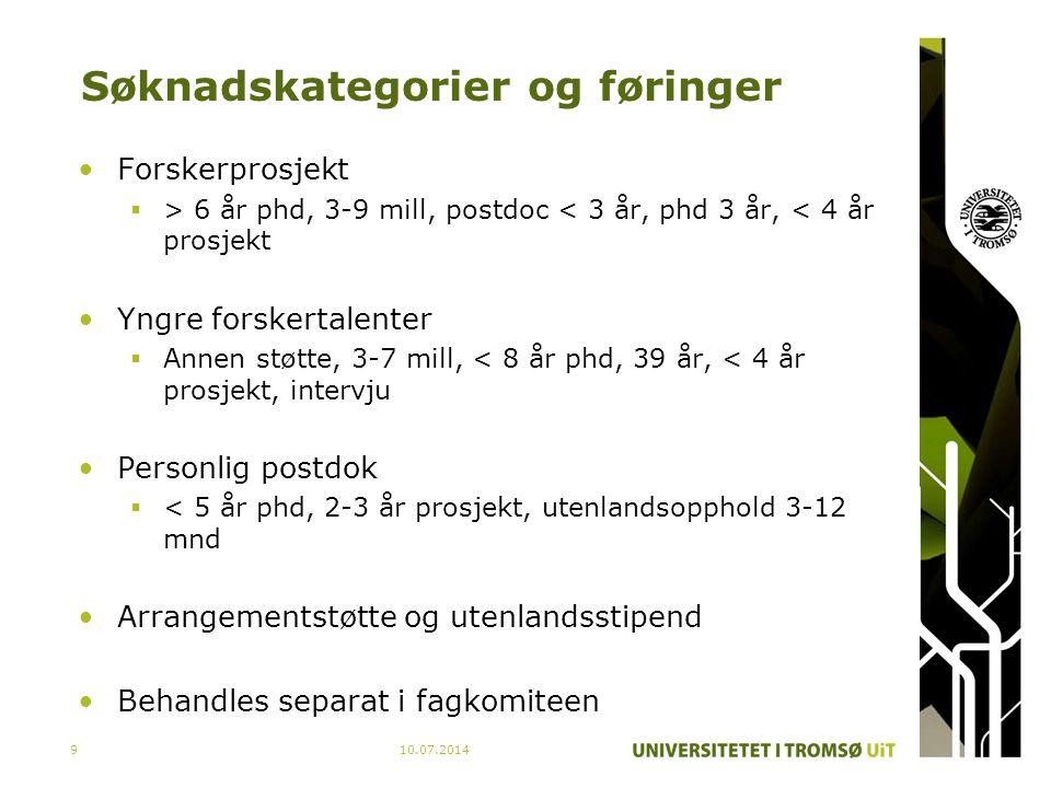Søknadskategorier og føringer