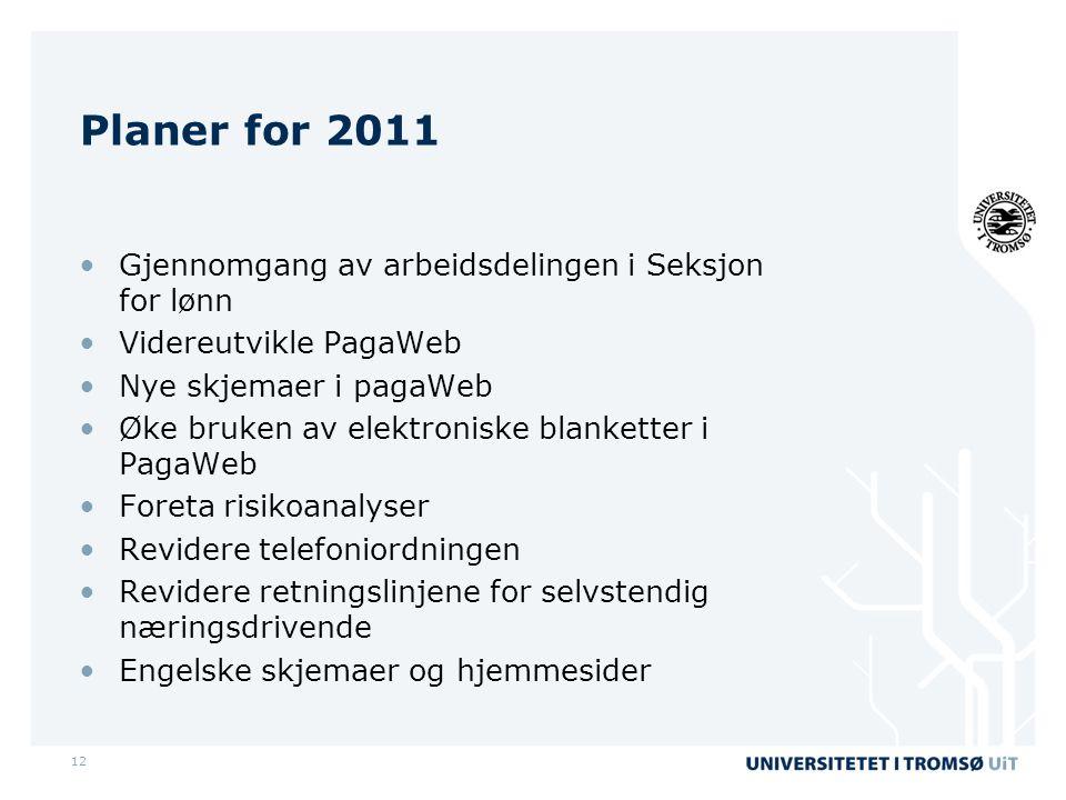 Planer for 2011 Gjennomgang av arbeidsdelingen i Seksjon for lønn
