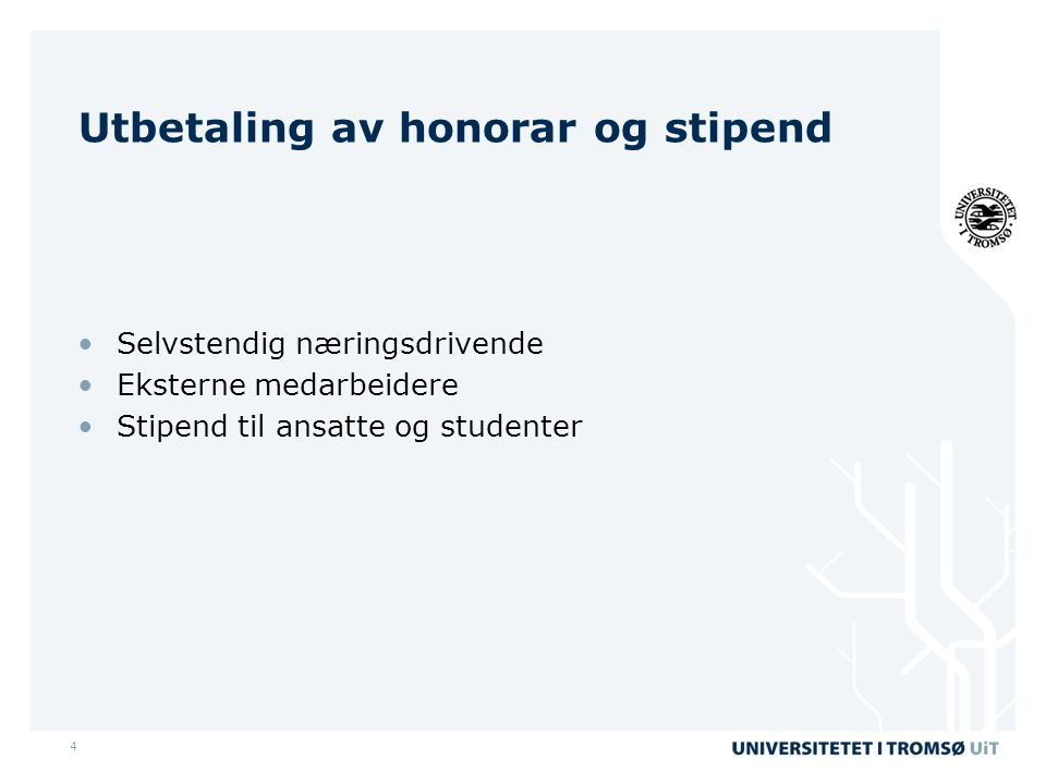 Utbetaling av honorar og stipend