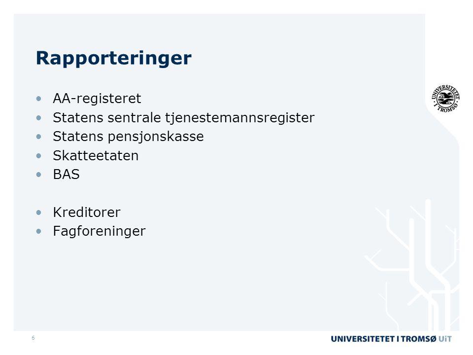Rapporteringer AA-registeret Statens sentrale tjenestemannsregister
