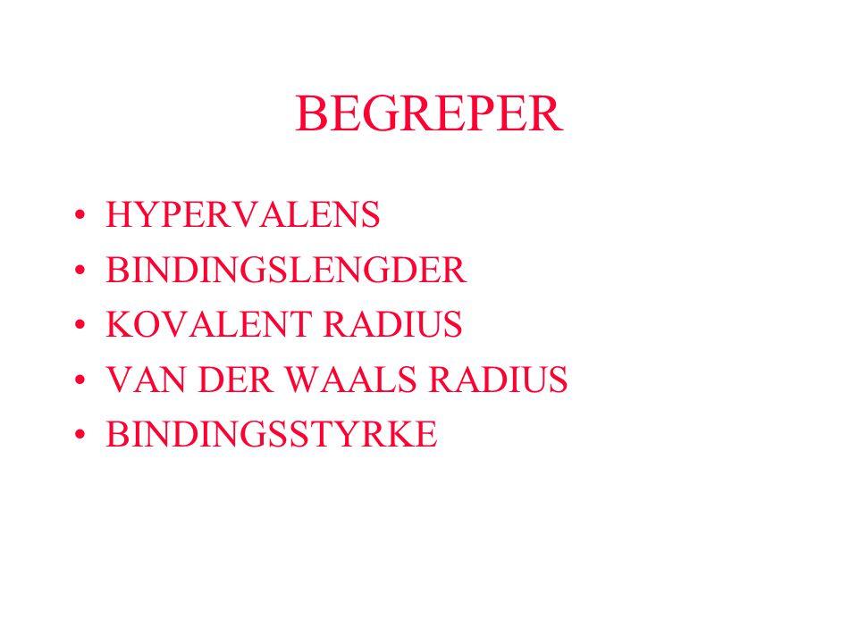 BEGREPER HYPERVALENS BINDINGSLENGDER KOVALENT RADIUS