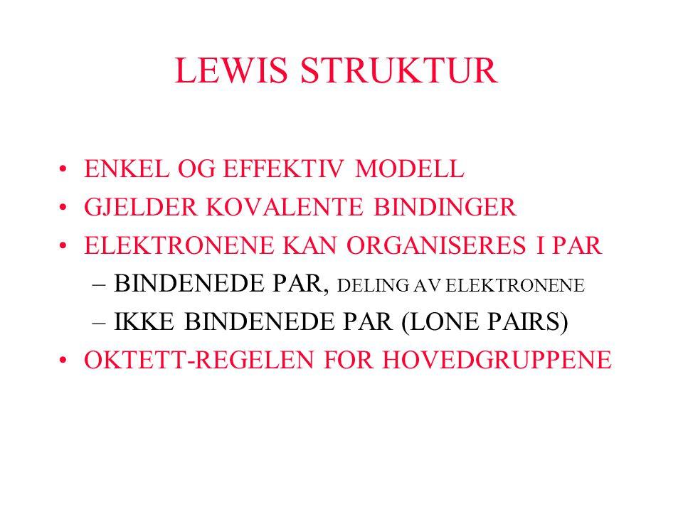 LEWIS STRUKTUR ENKEL OG EFFEKTIV MODELL GJELDER KOVALENTE BINDINGER