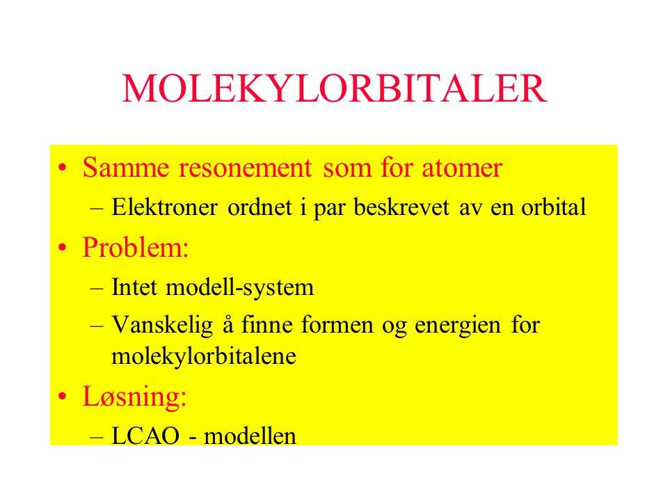 MOLEKYLORBITALER Samme resonement som for atomer Problem: Løsning:
