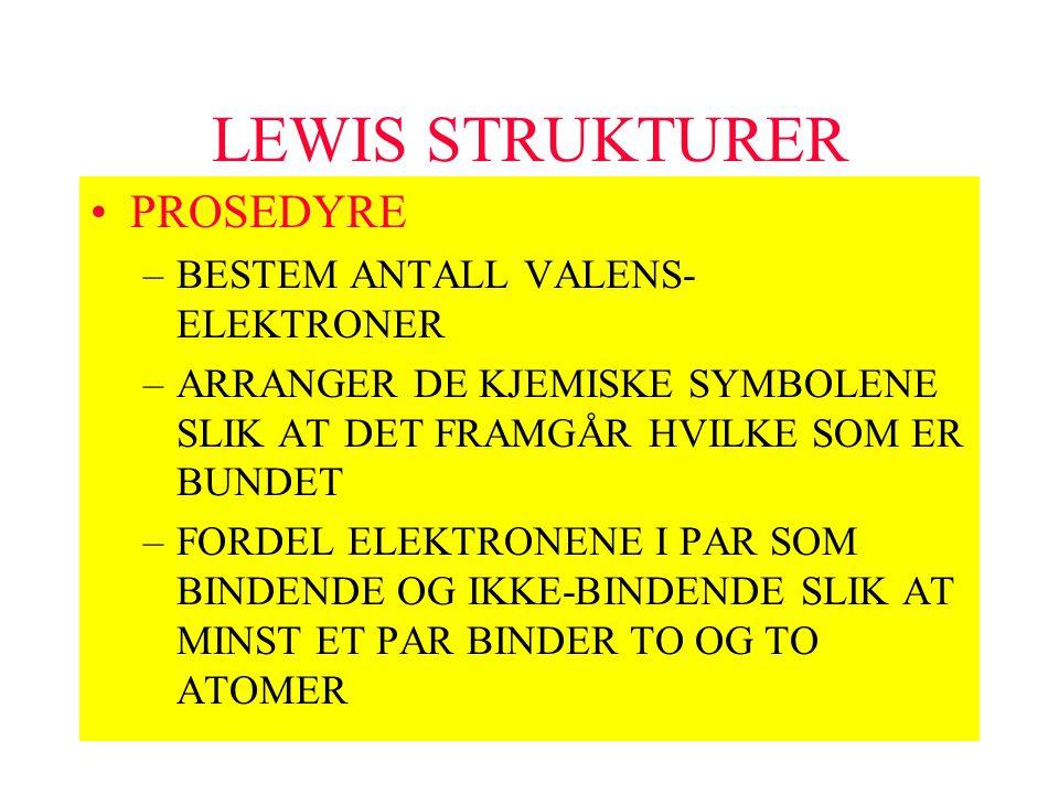 LEWIS STRUKTURER PROSEDYRE BESTEM ANTALL VALENS-ELEKTRONER