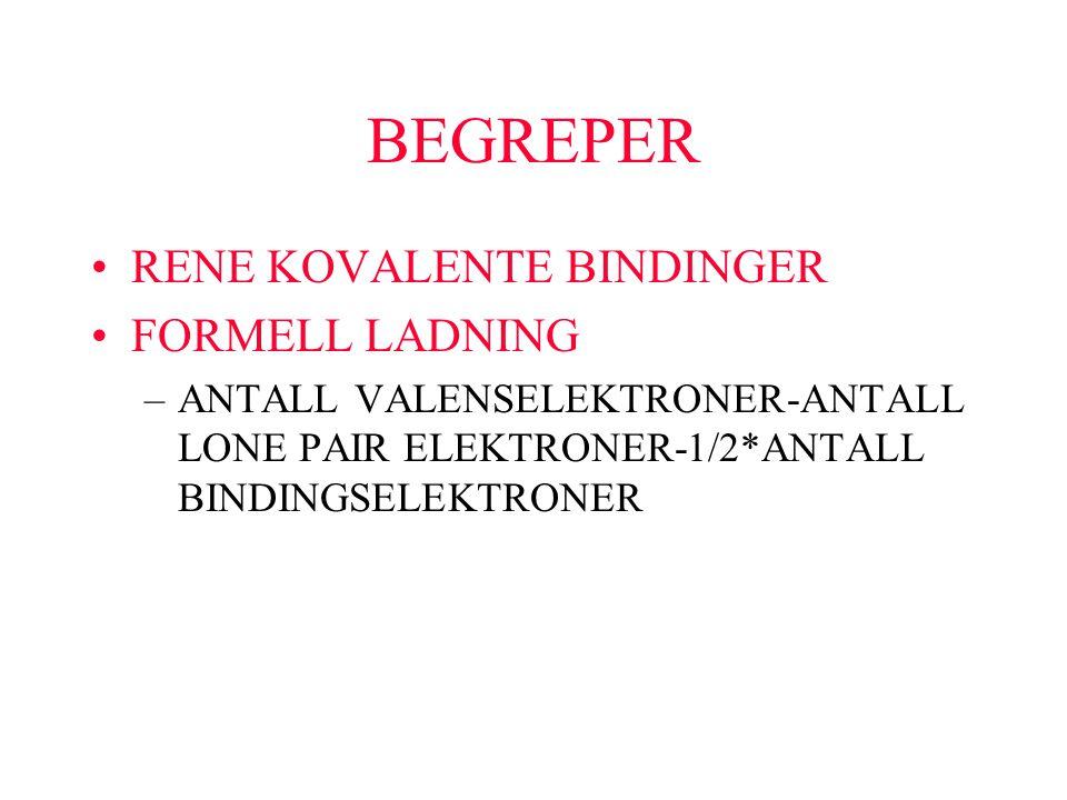 BEGREPER RENE KOVALENTE BINDINGER FORMELL LADNING