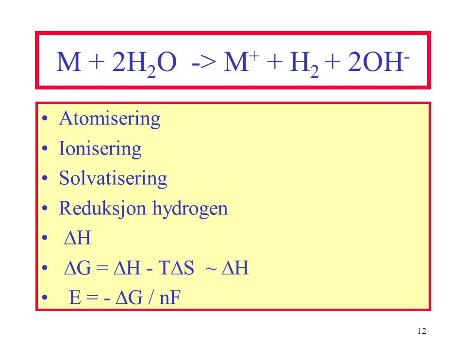 M + 2H2O -> M+ + H2 + 2OH- Atomisering Ionisering Solvatisering