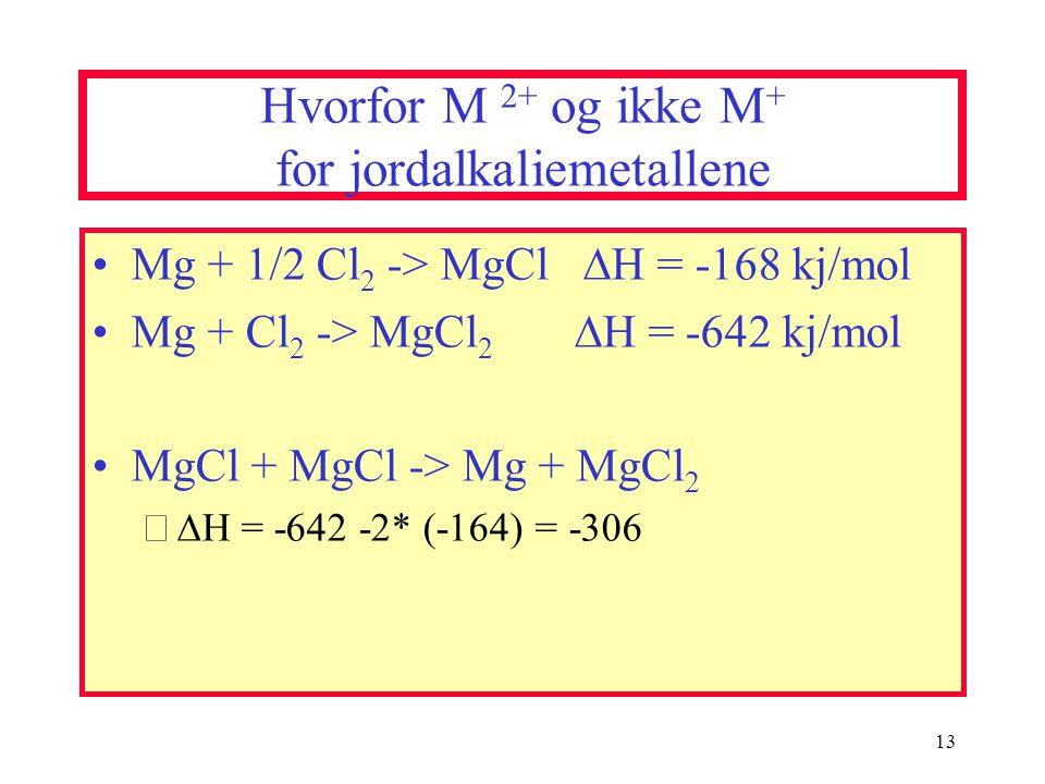 Hvorfor M 2+ og ikke M+ for jordalkaliemetallene