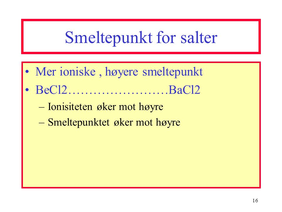 Smeltepunkt for salter