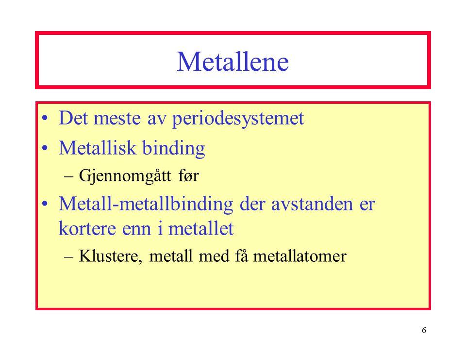 Metallene Det meste av periodesystemet Metallisk binding