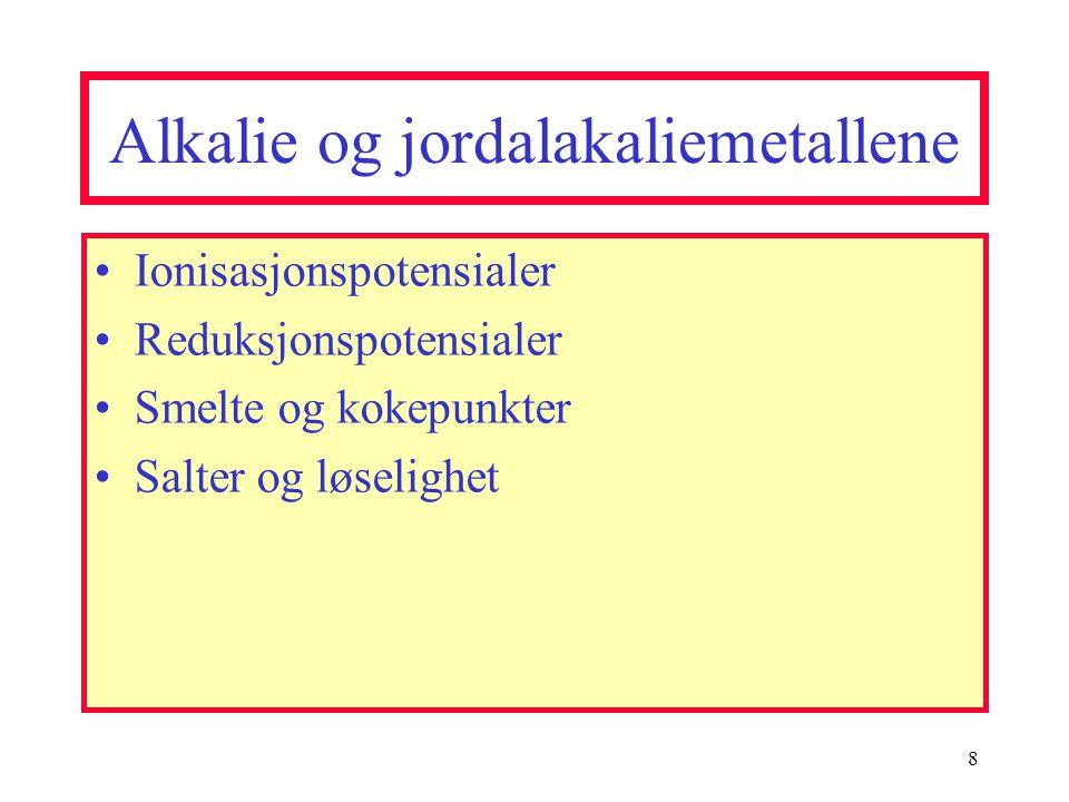 Alkalie og jordalakaliemetallene