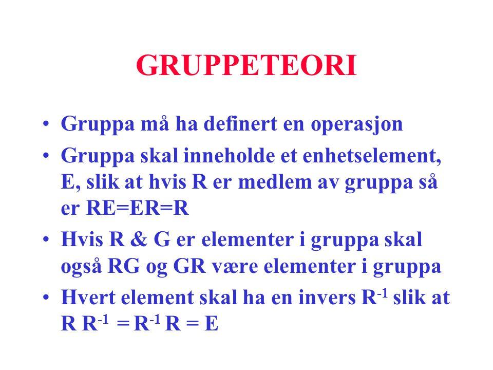 GRUPPETEORI Gruppa må ha definert en operasjon
