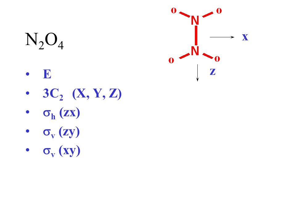 N2O4 x z E 3C2 (X, Y, Z) sh (zx) sv (zy) sv (xy)