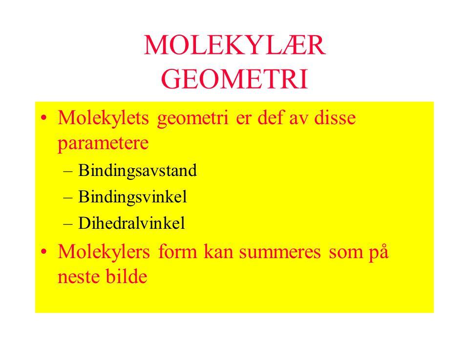 MOLEKYLÆR GEOMETRI Molekylets geometri er def av disse parametere