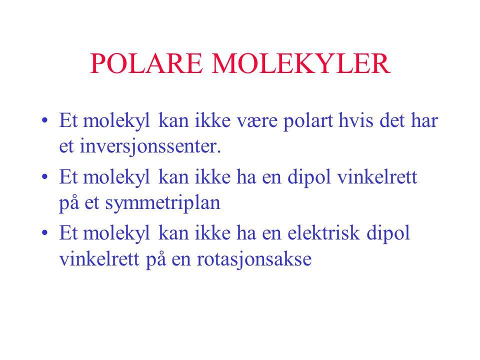 POLARE MOLEKYLER Et molekyl kan ikke være polart hvis det har et inversjonssenter. Et molekyl kan ikke ha en dipol vinkelrett på et symmetriplan.